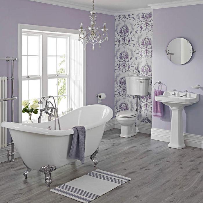 Carlton Complete Klassieke Badkamercombinatie - incl Halfhoog Toilet & Chromen Leeuwenpootjes