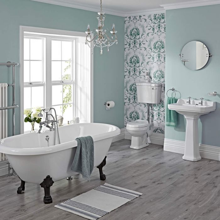 Carlton Complete Klassieke Badkamercombinatie - incl Halfhoog Toilet & Zwarte Leeuwenpootjes