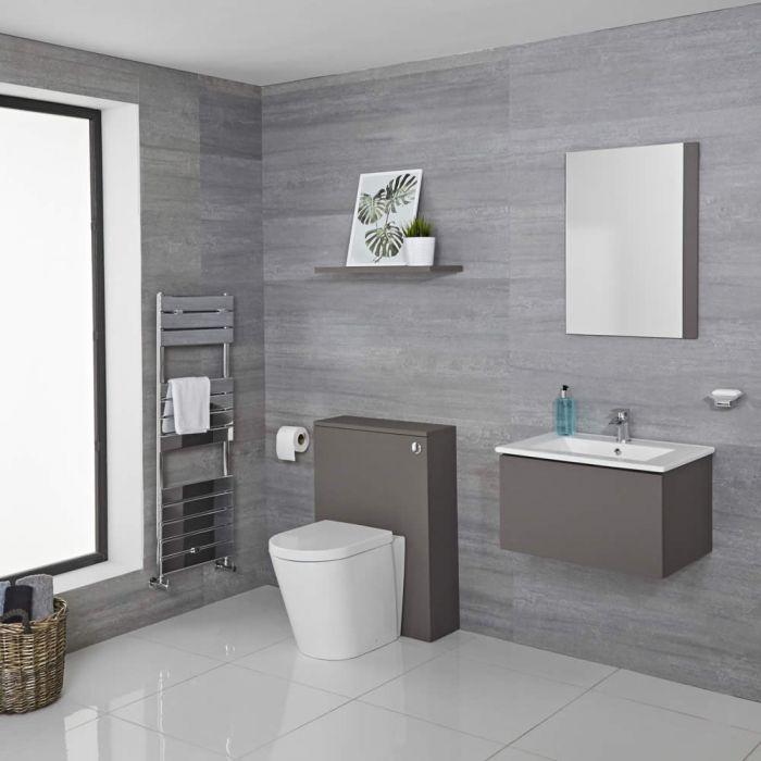 Newington Hangend Wastafelmeubel 60cm Mat Grijs incl. Keramische Wasbak - Toilet Ombouw & Staand Toilet