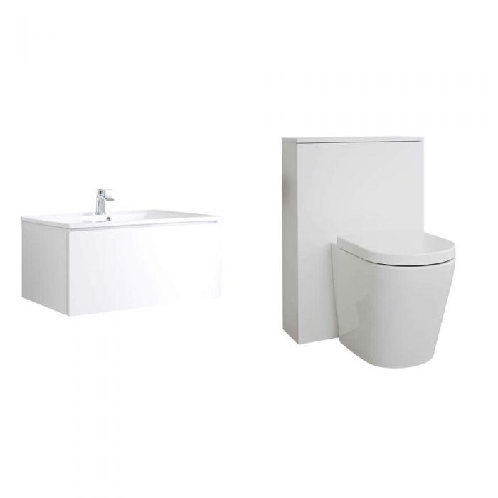 Newington Hangend Wastafelmeubel 80cm Mat Wit incl. Keramische Wasbak - Toilet Ombouw & Staand Toilet