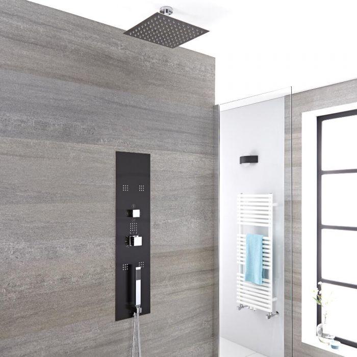 3-weg Thermostatisch Inbouw Douchepaneel Staalgrijs 20 x 20cm Douchekop & 5cm Plafond- arm   Handdouche & Bodyjets