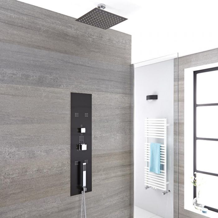 Llis 3-weg Thermostatisch Inbouw Douchepaneel Staalgrijs 20 x 20cm Douchekop & 5cm Plafond- arm   Handdouche & Bodyjets