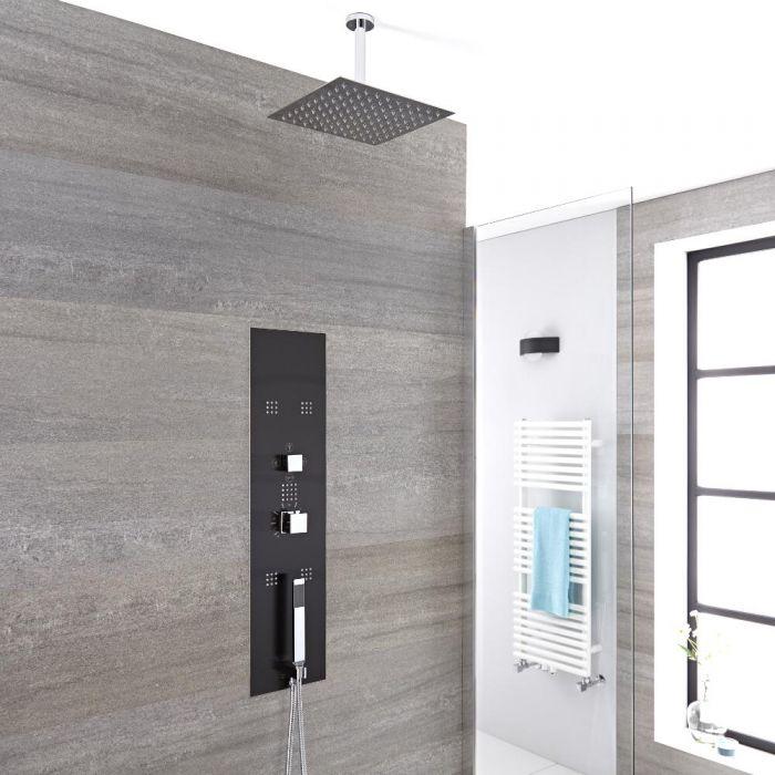 Llis 3-weg Thermostatisch Inbouw Douchepaneel Staalgrijs 40 x 40cm Vierkante Douchekop & 15cm Plafond- arm   Handdouche & Bodyjets