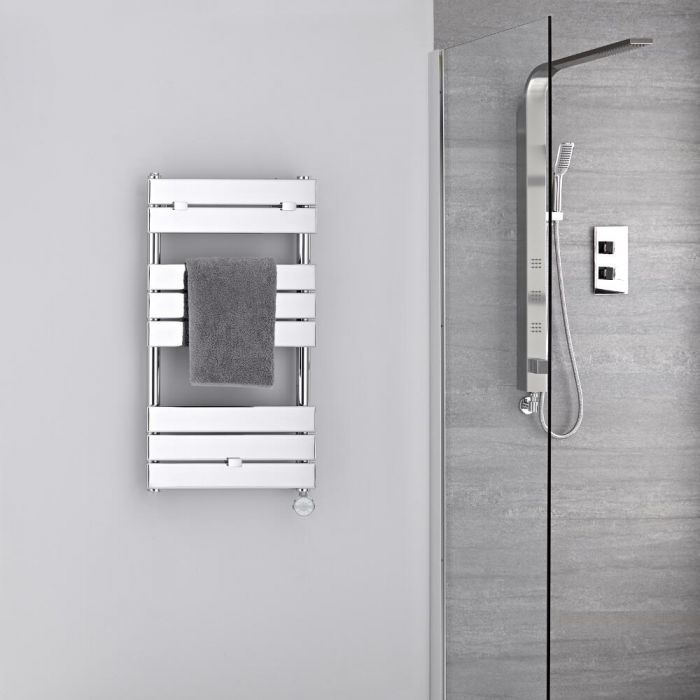 Verchroomd Stalen Elektrische Handdoekradiator incl 400 W Verwarmingselement - 84cm x 45cm
