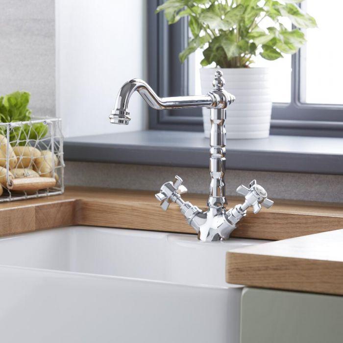 Klassieke 2-greeps Keukenkraan Verchroom Massief Messing