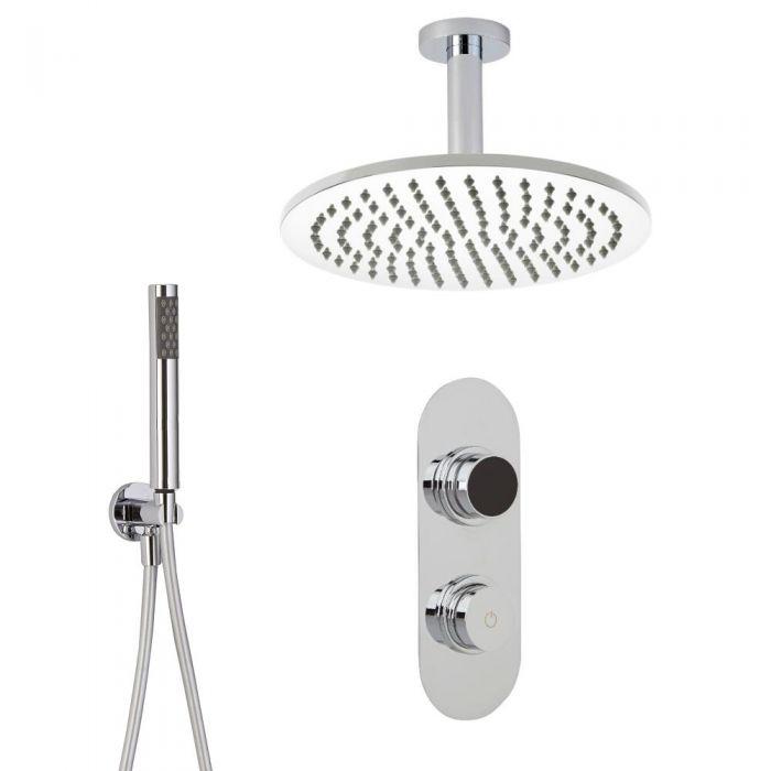 2-weg Digitale Thermostaatkraan +  d.20cm Regendouchekop Plafondbevestiging &  Handdouchecombi