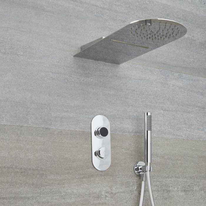 Narus 2-weg Digitale Thermostaatkraan 20 x 50 cm Waterval &  Regendouchekop Rond Muurbevestiging