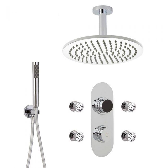 3-weg Digitale Thermostaatkraan + d.30cm PlafondDouchekop  + Handdouchecombi & Bodyjets