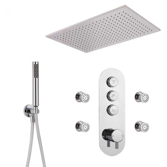 Idro 3-weg Thermostatische Drukknop Douchekraan Handdouchecombi &  80cm Verzonken Plafond Douchekop & Bodyjets