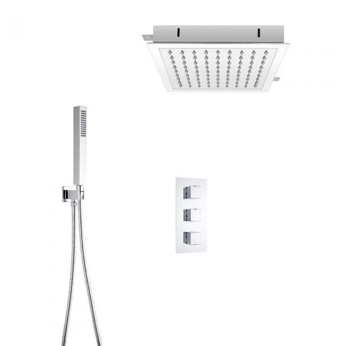 Hudson Reed vierkante 3 weg thermostatische douchekraan, 280mm inbouwdouchekop en handdouche