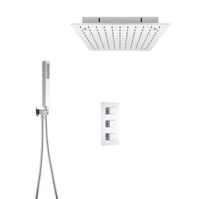 Hudson Reed vierkante 3 weg thermostatische douchekraan 400mm inbouwdouchekop en handdouche