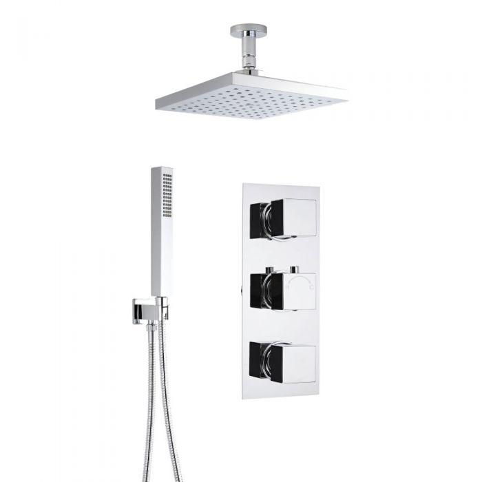 2-weg Inbouw Thermostaatkraan Vierkant, 20 x 20cm Plafond Regendouchekop en Handdouchecombinatie