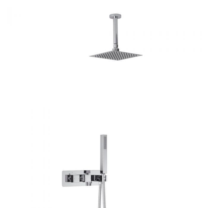 Arvo 2-weg Inbouw Thermostaatkraan Plafond Douchekop 20 x20cm en  Handdoucheset