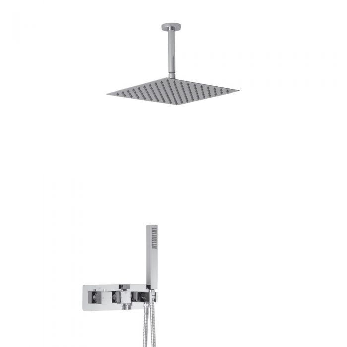 Arvo 2-weg Inbouw Thermostaatkraan met 30 x 30cm Plafond Douchekop  en Handdoucheset