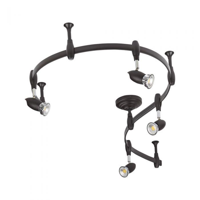 Biard Forio 200cm Flexibele Railverlichting Set incl 4 Railspots GU10 IP20 Zwart