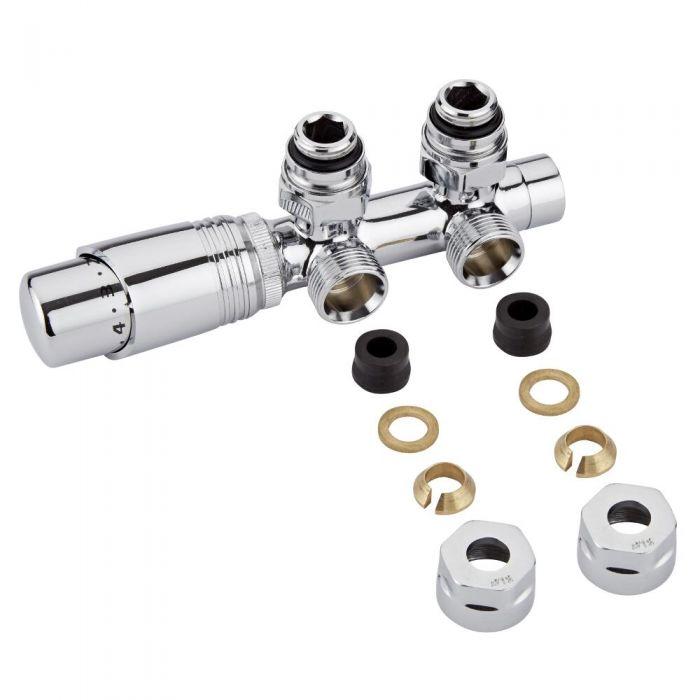 H-Blok 2-pijps Thermostatische Radiatorkraan Haaks  3/4'' Mannelijk Chroom12mm Koperen Adapter