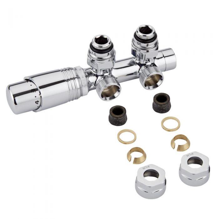 H-Blok 2-pijps Thermostatische Radiatorkraan Haaks  3/4'' Mannelijk Chroom 14mm Koperen Adapter