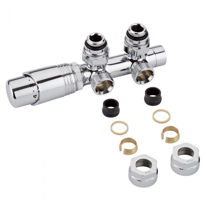 H-Blok 2-pijps Thermostatische Radiatorkraan Haaks  3/4'' Mannelijk Chroom 16mm Koperen Adapter
