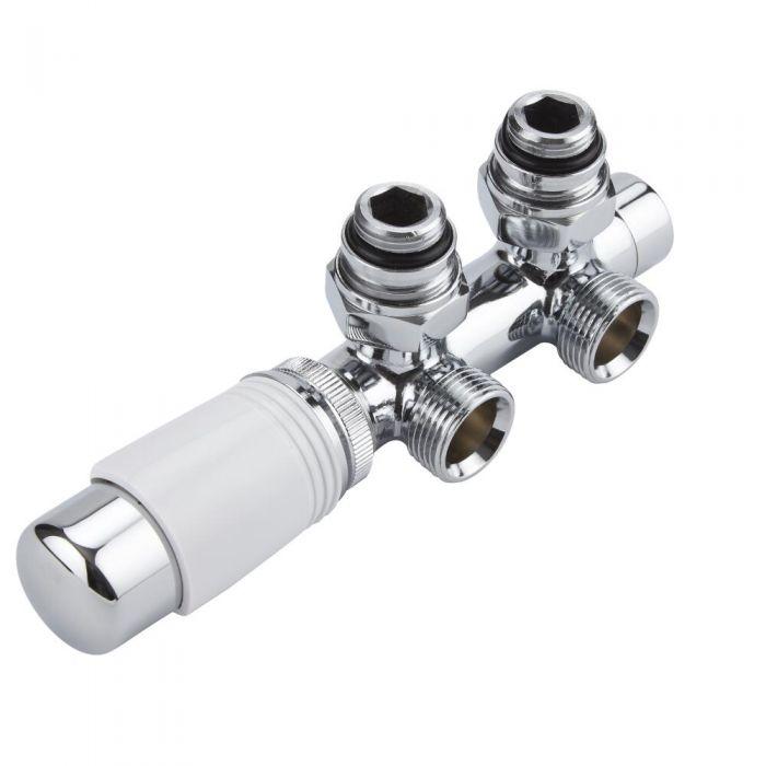 H-Blok 2-pijps Thermostatische Radiatorkraan Haaks  3/4'' Mannelijk Wit met Keuze uit Adapter