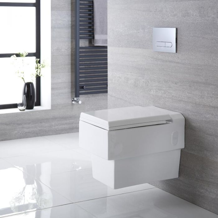 Haldon Hangend Keramiek Toilet incl WC Bril Vierkant Wit