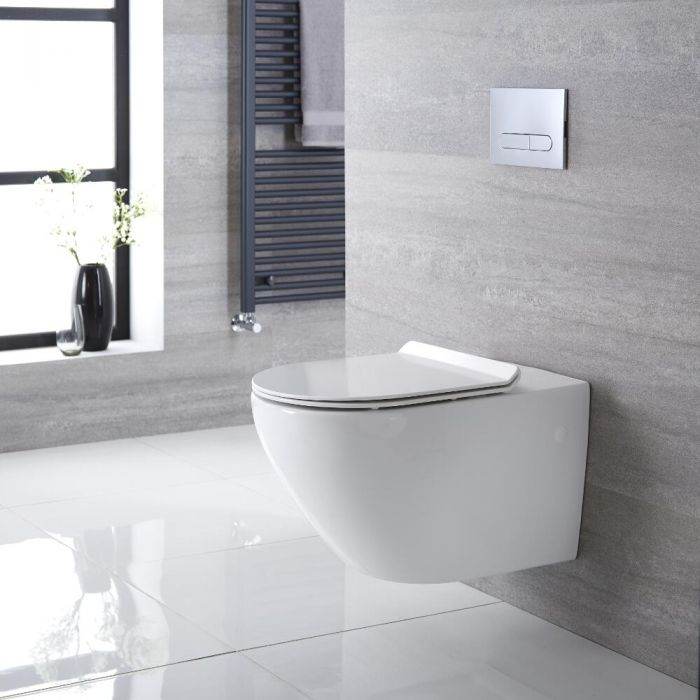 Randloos Toilet incl WC Bril Ovaal Wit | Otterton