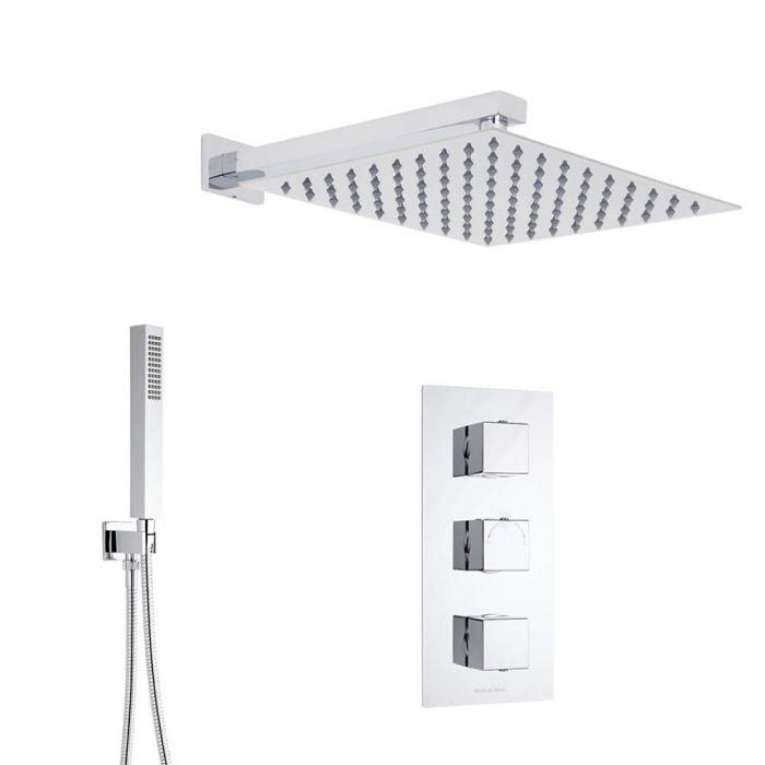 Kubix 2-weg thermostatisch doucheset zonder omstelkraan (douchekop 40x40cm)