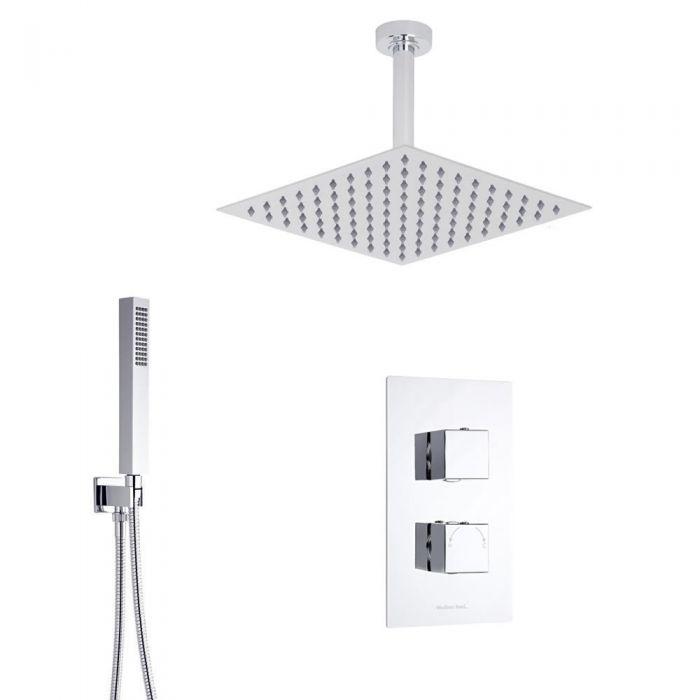 Kubix 2-weg thermostatisch doucheset met omstelkraan (douchekop 30x30cm)