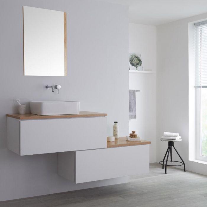 Wastafelmeubel + 1 x Opzetwastafel + Versprongen Onderkast Hangend Wit & Eiken 160cm – incl/excl. LED -Newington