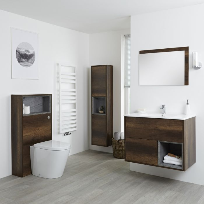 Badkamermeubel Set Hangend 80cm Donker Eiken Incl Wastafelmeubel + Toilet + Stortbak + Ombouw + Kast + Spiegel - incl/excl. LED - Hoxton