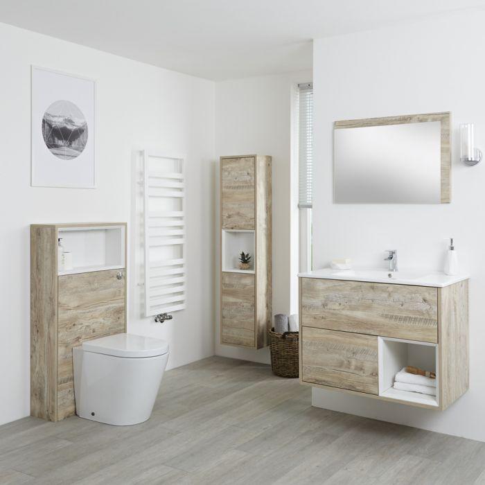 Badkamermeubel Set Hangend 80cm Licht Eiken Incl Wastafelmeubel + Toilet + Stortbak + Ombouw + Kast + Spiegel - incl/excl. LED - Hoxton