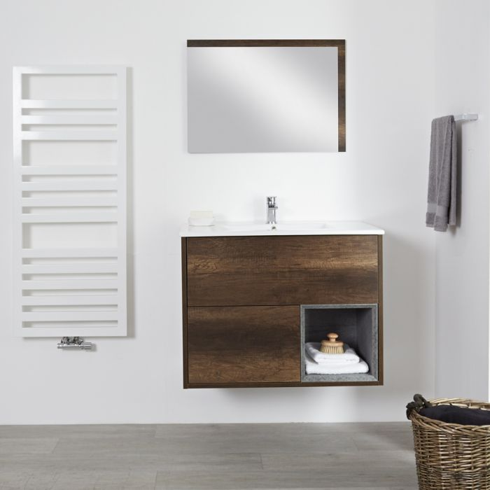 Wastafelmeubel +  Enkele Wastafel Hangend Donker Eiken 80cm  – incl/excl. LED - Hoxton