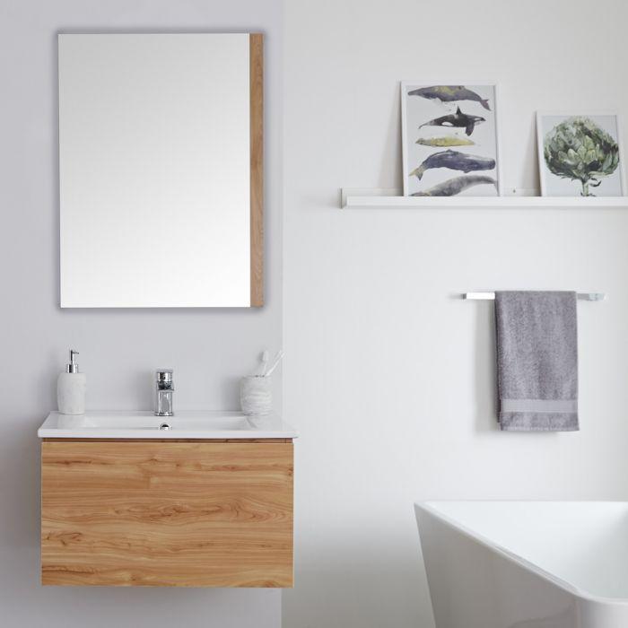 Wastafelmeubel + Enkele Wastafel Hangend Goud Eiken 60cm – incl/excl. LED - Newington