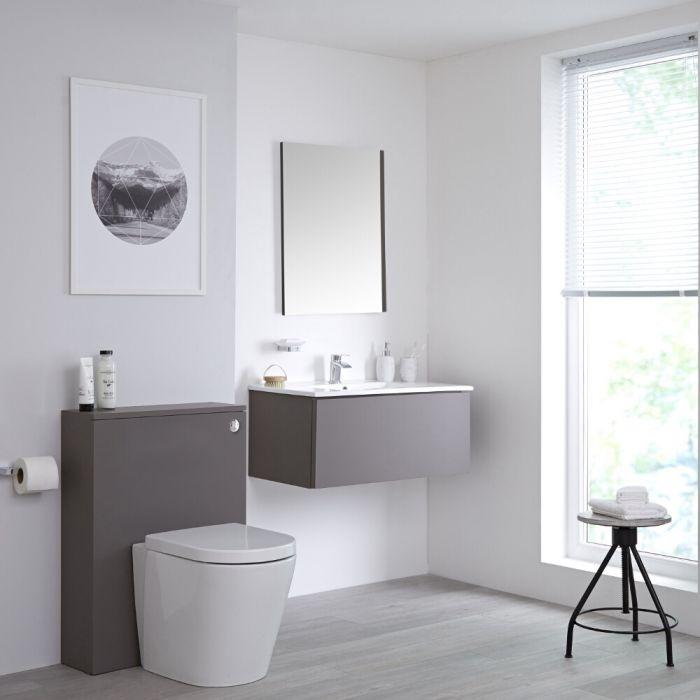 Newington Hangend Wastafelmeubel 80cm Mat Grijs incl. Keramische Wasbak - Toilet Ombouw & Staand Toilet