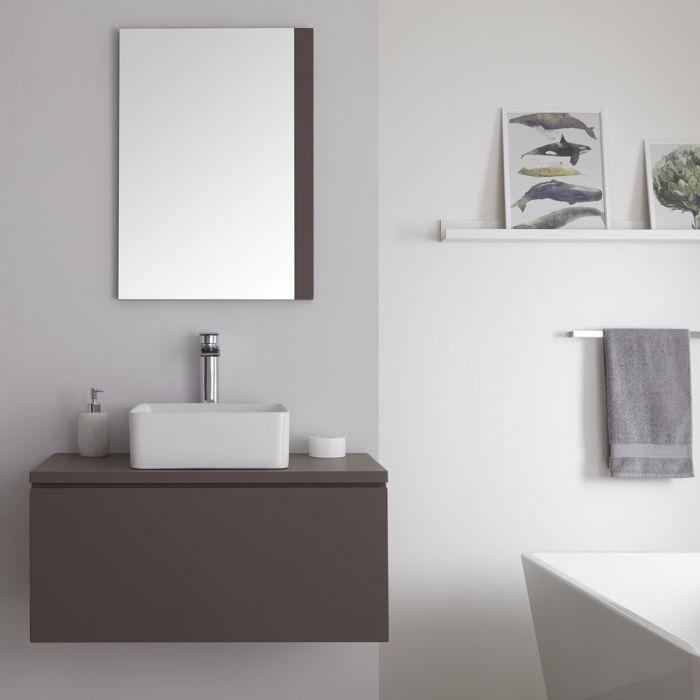 Wastafelmeubel + 1 x Opzetwastafel Hangend Mat Grijs 80cm – incl/excl. LED -Newington