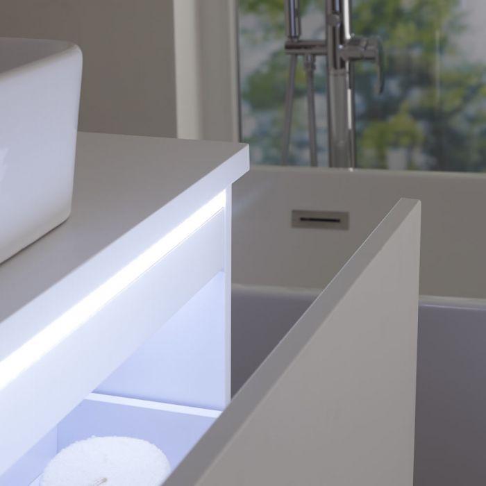 Wastafelmeubel + 1 x Opzetwastafel Hangend Mat Wit 100cm  – incl/excl. LED -Newington