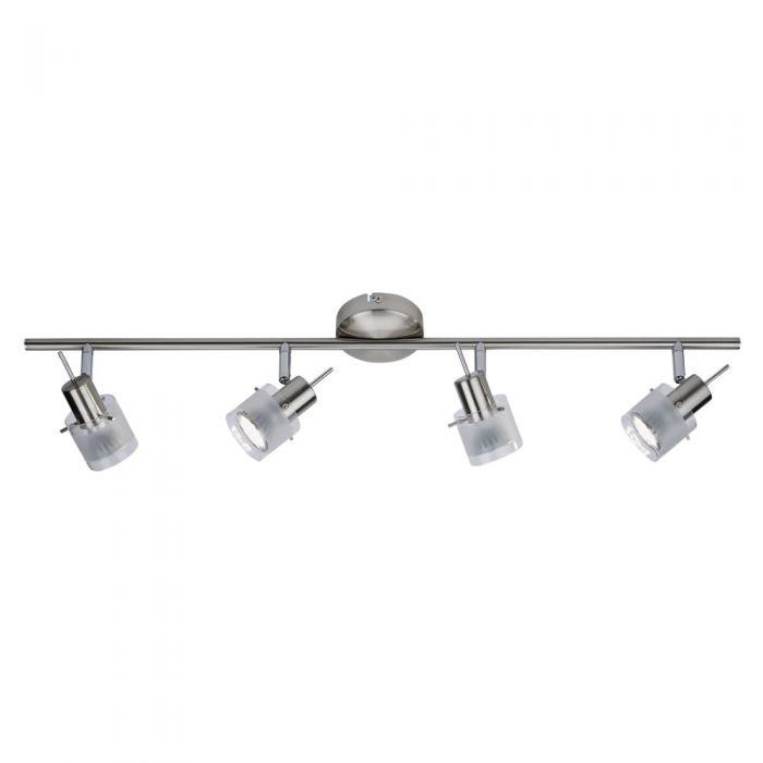 GU10 RVS Plafondspot Met 4 Spots - Satijn Nikkel / Mat Glas