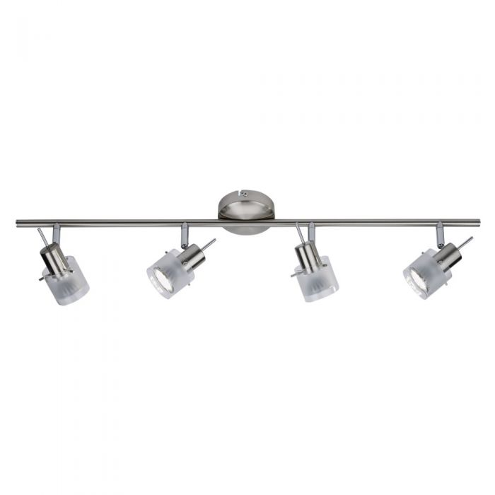 Biard GU10 RVS Plafondspot met 4 spots - Satijn Nikkel / Mat Glas