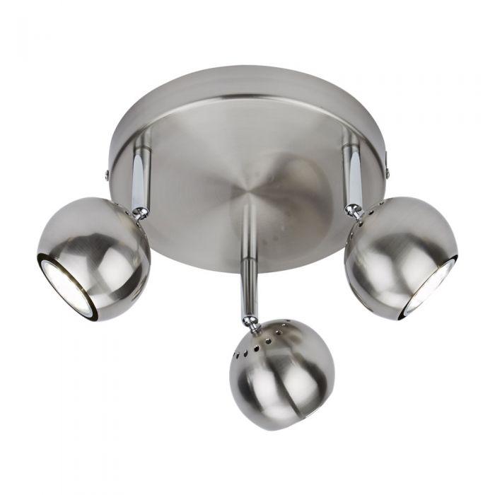 RVS GU10 Plafondspot Met 3 Spots - Satijn Nikkel