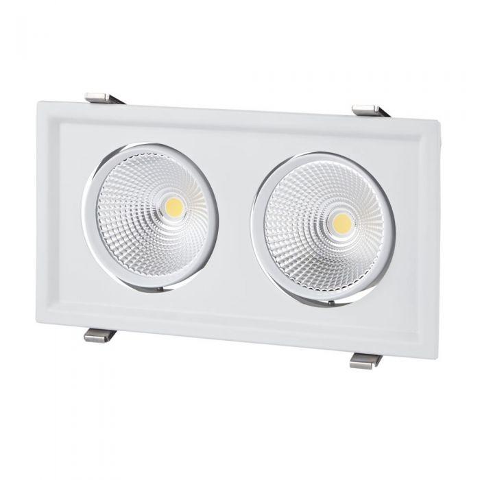 60W Kantelbare Cob Led Inbouwspot Met 2 Spots Incl Lamp & Driver - Wit