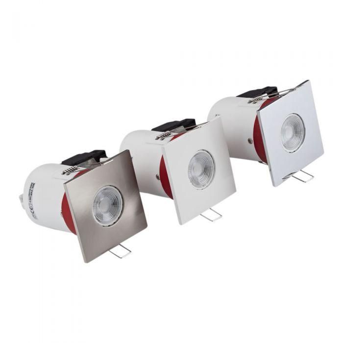3 x IP20 GU10 Inbouwspot Dimbaar Excl Lamp Incl 3 x Omlijstingen Vierkant