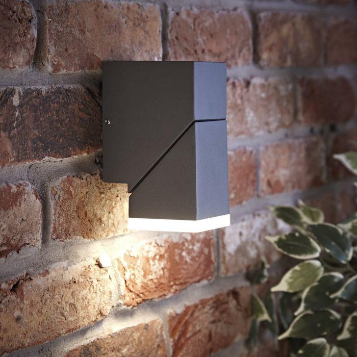 Biard Ziersdorf LED 8W IP54 Verstelbaar Op en Neer Licht Vierkant - Antraciet
