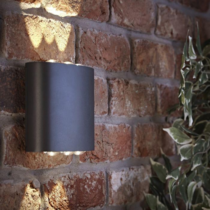 Biard Olen LED 6W IP54 Drievoudige Wandlamp - Antraciet