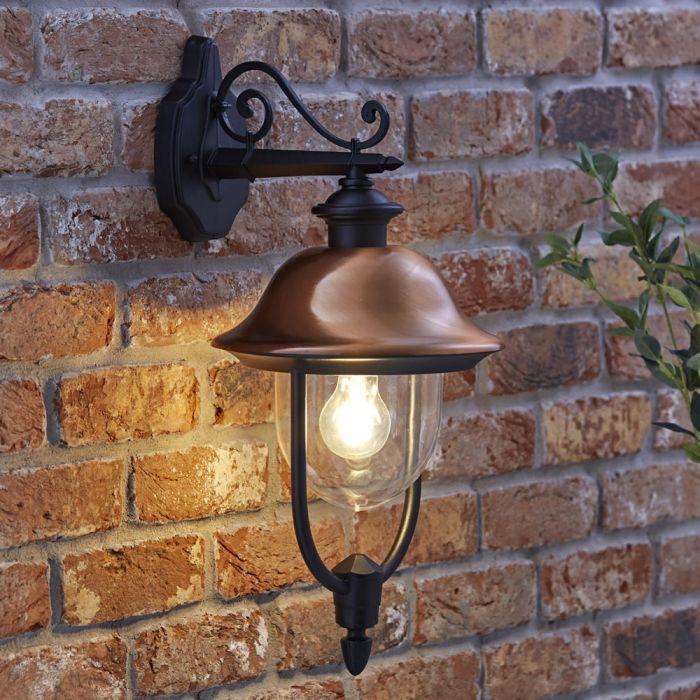 Biard Verona Dimbare Wandlamp Buiten Hangende Zwart Koper excl. lamp E27 / IP44