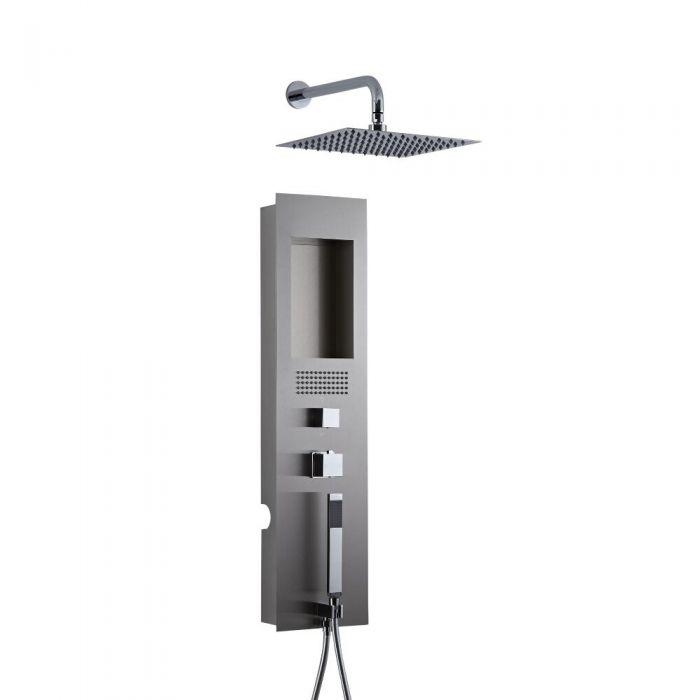 Llis 2-delig Inbouw Douchepaneel Thermostatisch Geborsteld Staal met RVS Douchekop 20 x 20 cm Muurbevestiging