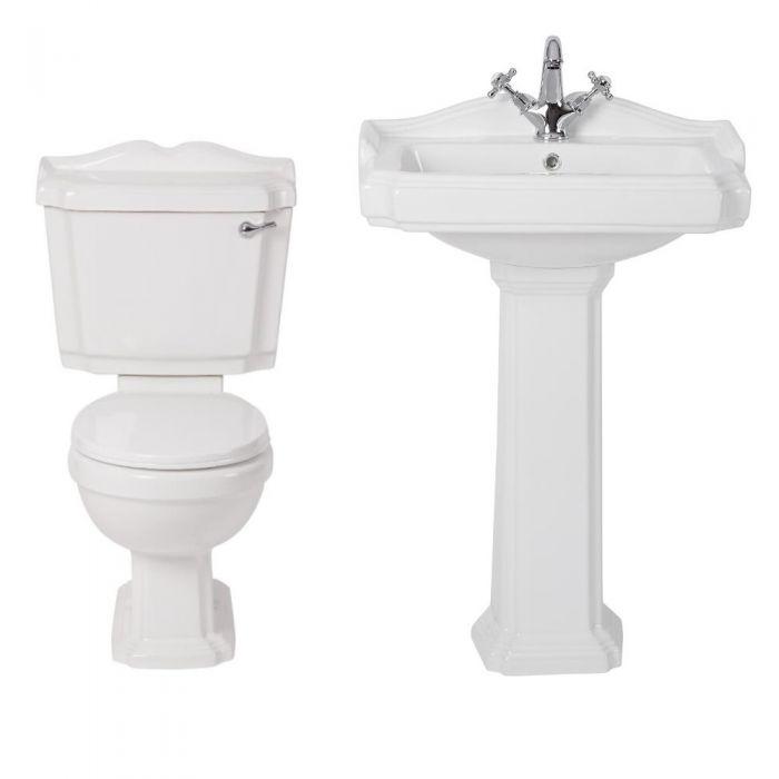 Oxford Klassiek Toilet en Wastafel 1 Kraangat Wit