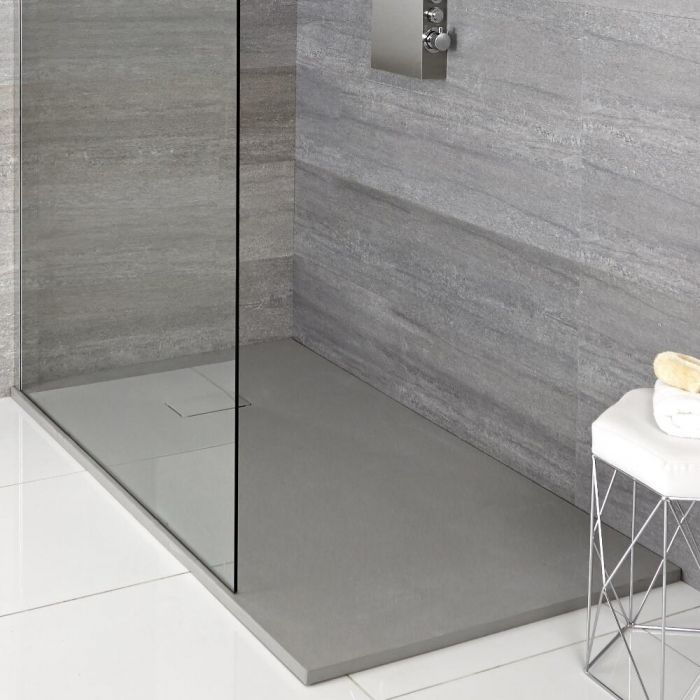 Hudson Reed rechthoekige douchebak met lichtgrijze steeneffect afwerking - 90  x 80 cm