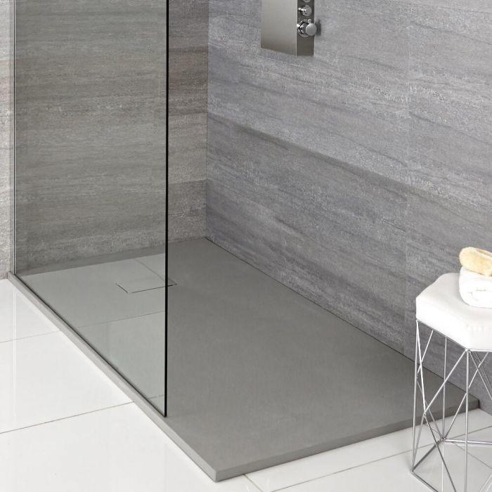 Hudson Reed rechthoekige douchebak met lichtgrijze steeneffect afwerking - 150 x 90 cm