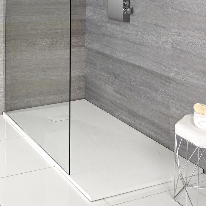Rechthoekige Douchebak Met Matte Witte Steeneffect Afwerking 100cm x 80cm