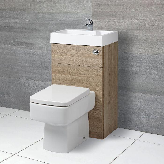 Toilet met ingebouwde wastafel - 50cm x 89cm x 85,7cm (gehoekte uitvoering)