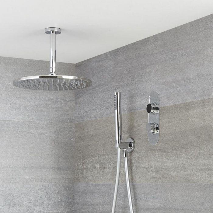 Narus - 2-weg Digitale Thermostaatkraan +  d.20cm Regendouchekop Plafondbevestiging &  Handdouchecombi